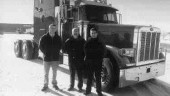 PETE PICKS: Barry Marchand (centre) of Frontier Peterbilt found model employees in Stuart Gregory (left) and Bert Downton. (Photo by Pat Rediger)