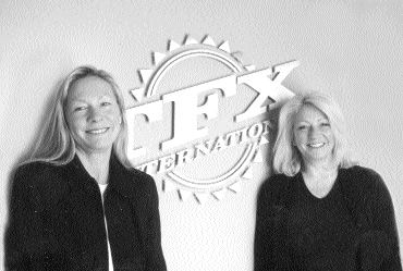 AUTO SHOW: Christine Horodnyk (left) and Jacqui Macnally (right) head up the team at TFX International, a specialized automobile hauler, and they say they love every minute of it. Photo by Katy de Vries