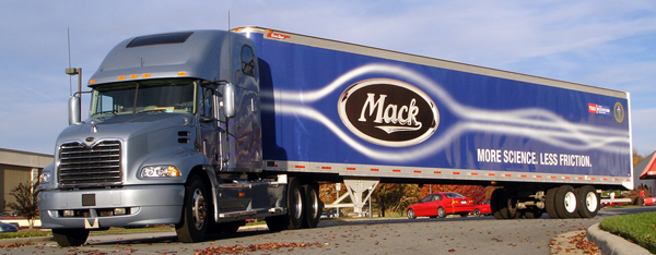 By installing a gap enclosure, side skirts and a boat tail on this tractor-trailer combination, Mack achieved an 8% improvement in fuel economy.