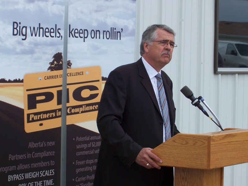 Lane Kranenburg, director of the Partners In Compliance program, announced the program's launch at the Leduc weight station on June 11.