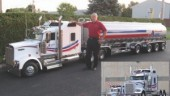 SMALL TRUCK, BIG DREAMS: Jacques Auger proudly displays a miniature Kenworth W900L that's been put to work for a good cause -raising money to help kids with cancer.