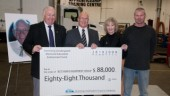 (Pictured from left-right: John Bourbonniere, regional manager, operations west, YRC Reimer and former Chair and current board member BCTA; Robin Ross, chair, Flemming Sondergaard Legacy Fund Committee; Laurie Clarke, vice-president development, BCIT; and Jason Drinkle, BCIT student).