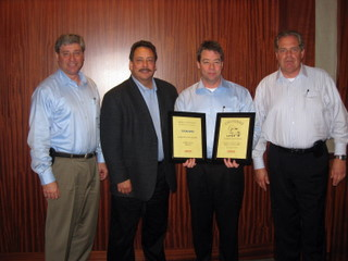 PICTURED (l-r): Frank Oliviera, vice-president, Arrow Truck Sales Canada; Lee Wallace, sr. v.p., sales and marketing; Adam Davy, branch manager, Arrow Toronto; and Carl Heikel, president and CEO, Arrow Truck Sales.