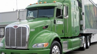 ON THE FAST TRACK: Loblaws' Peterbilt hybrid comes with a complete aero package and our test driver found it to be quick and responsive with its power channeled through an Eaton Ultra-Shift automatic.