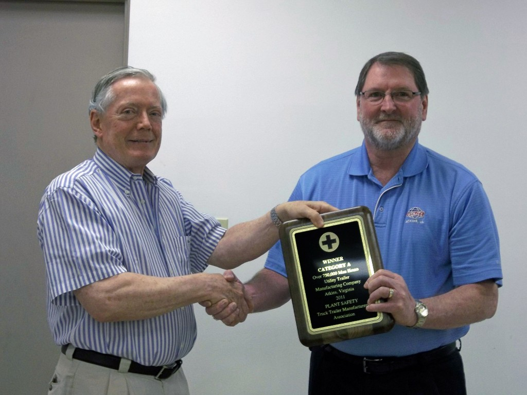 Utility Trailer has won an award in recognition of its Marion, Va. plant's safety record. Pictured are Paul Bennett, CEO and chairman of the board at Utility Trailer Manufacturing (left) and Brad Starkey, plant manager for Utility's Marion manufacturing.