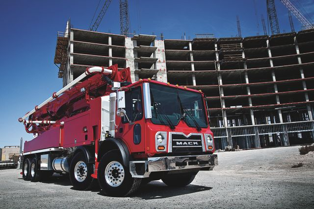 The Mack TerraPro is now available with an MP8 engine calibrated specifically for concrete pumper applications.
