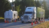 A remote sensing unit is positioned at roadside in B.C. to collect data on heavy-truck emissions in the province.