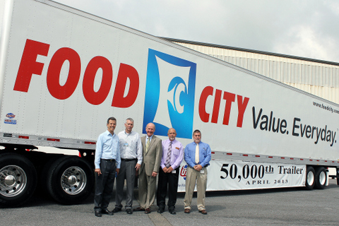 Utility Trailer is celebrating its 50,000th dry van trailer milestone at its Glade Spring manufacturing plant. The trailer was commissioned by K-VA-T Food Stores, Food City's parent company. Pictured from left to right are: Craig Bennett, senior vice-president, sales and marketing for Utility Trailer; Sam Cassell, plant manager for Utility Trailer's Glade Spring Plant; Steve Smith, president & CEO for Food City; Buddy Honaker, director of distribution for Food City; and Mike Tate, transportation manager for Food City.