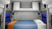 The mid-roof sleeper features a liftable lower bunk and upper storage units on the sleeper's back wall, including hanging storage for drivers to hang their clothes and jackets, or an optional upper bunk for driving teams. A bunk heater, flat screen TV and premium sound system can also be added.