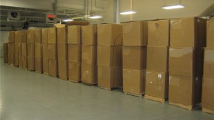 Some of the 132 boxes of smuggled tobacco.