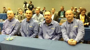 The finalists and winner of the 2014 Highway Hero Awards (left to right): Scott Rosenberg, winner Ivan Vasovic, Tim Horton, and Brian Dunn.